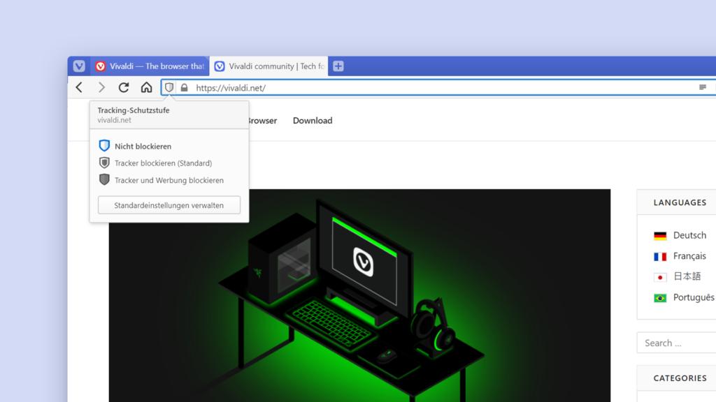 Bild mit Tracker blockieren mit eingebautem Tracker-Blocker